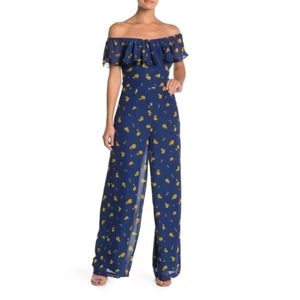 Betsey Johnson NWT 4 Berry Blue Floral Jumpsuit